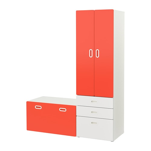 stuva fritids schrank mit banktruhe wei rot ikea. Black Bedroom Furniture Sets. Home Design Ideas