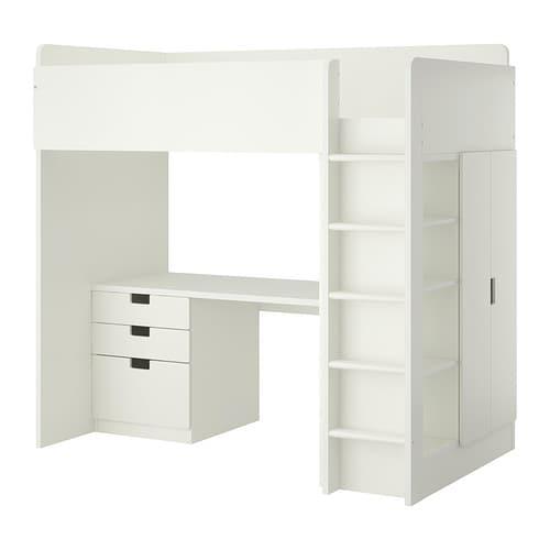 stuva hochbettkomb 3 schubl 2 t ren wei ikea. Black Bedroom Furniture Sets. Home Design Ideas