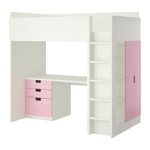 stuva hochbettkomb 3 schubl 2 t ren wei rosa ikea. Black Bedroom Furniture Sets. Home Design Ideas