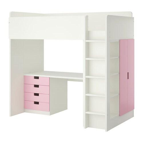 stuva hochbettkomb 4 schubl 2 t ren wei rosa ikea. Black Bedroom Furniture Sets. Home Design Ideas