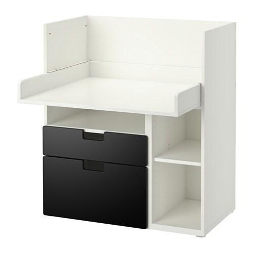 stuva schreibtisch mit 2 schubladen wei schwarz ikea. Black Bedroom Furniture Sets. Home Design Ideas
