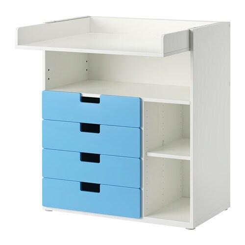 stuva wickeltisch mit 4 schubladen wei blau ikea. Black Bedroom Furniture Sets. Home Design Ideas
