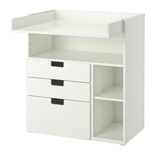 stuva wickeltisch mit 3 schubladen wei ikea. Black Bedroom Furniture Sets. Home Design Ideas