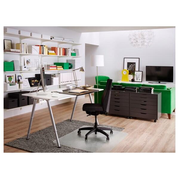 THYGE Schreibtisch, weiß/silberfarben, 160x80 cm
