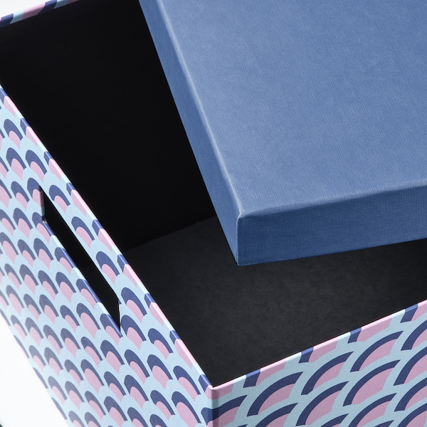 TJENA Kasten mit Deckel, blau/bunt, 25x35x20 cm