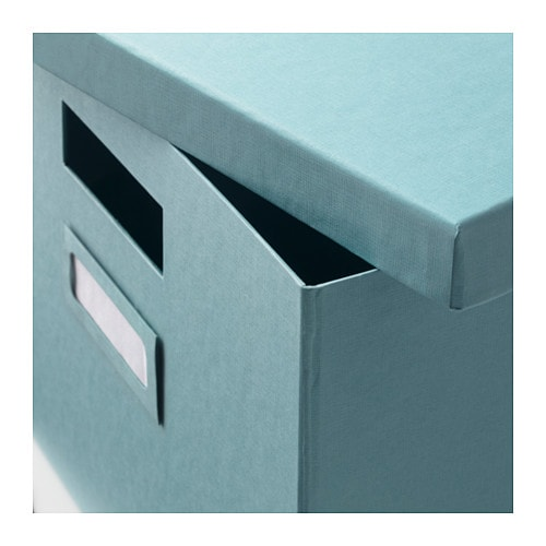ikea tjena kasten mit deckel blau 27x35x20cm box kiste verstauen aufbewahrung ebay. Black Bedroom Furniture Sets. Home Design Ideas