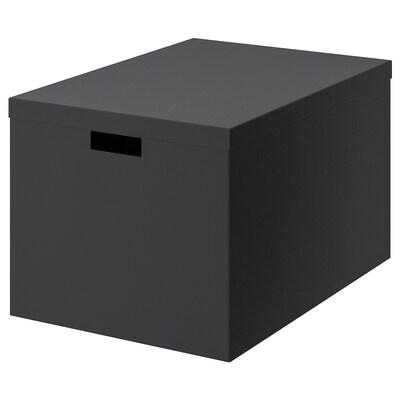 TJENA Kasten mit Deckel, schwarz, 35x50x30 cm