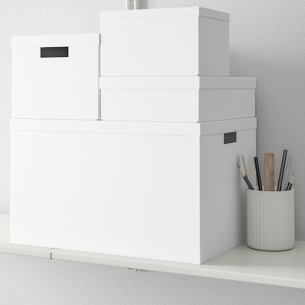 TJENA Kasten mit Deckel, weiß, 25x35x10 cm