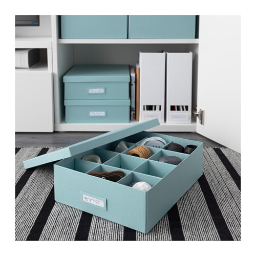 ikea tjena kasten mit f chern in blau 27x35x10cm schachtel aufbewahrung box neu ebay. Black Bedroom Furniture Sets. Home Design Ideas