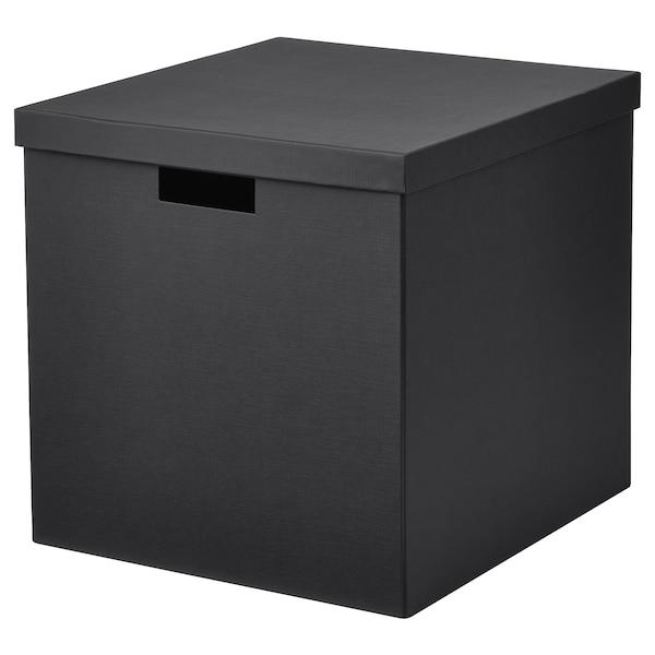 TJENA Kasten mit Deckel schwarz 35 cm 32 cm 32 cm