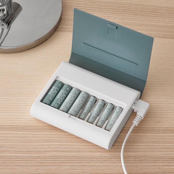 TJUGO Ladegerät mit Aufbewahrung, graugrün