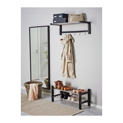 ikea tjusig hutablage schwarz hutregal garderobe h ngegarderobe wandgarderobe ebay. Black Bedroom Furniture Sets. Home Design Ideas