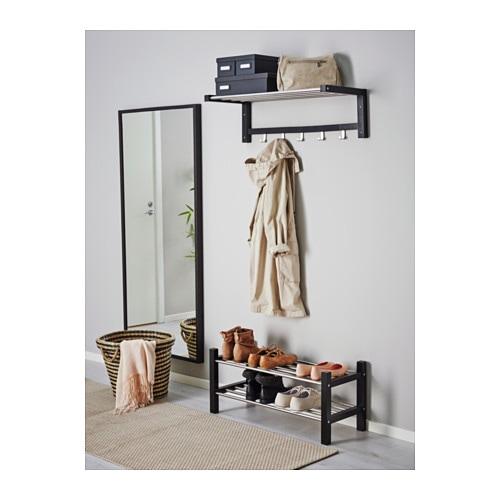 ikea tjusig hutablage schwarz hutregal garderobe h ngegarderobe wandgarderobe traumfabrik xxl. Black Bedroom Furniture Sets. Home Design Ideas