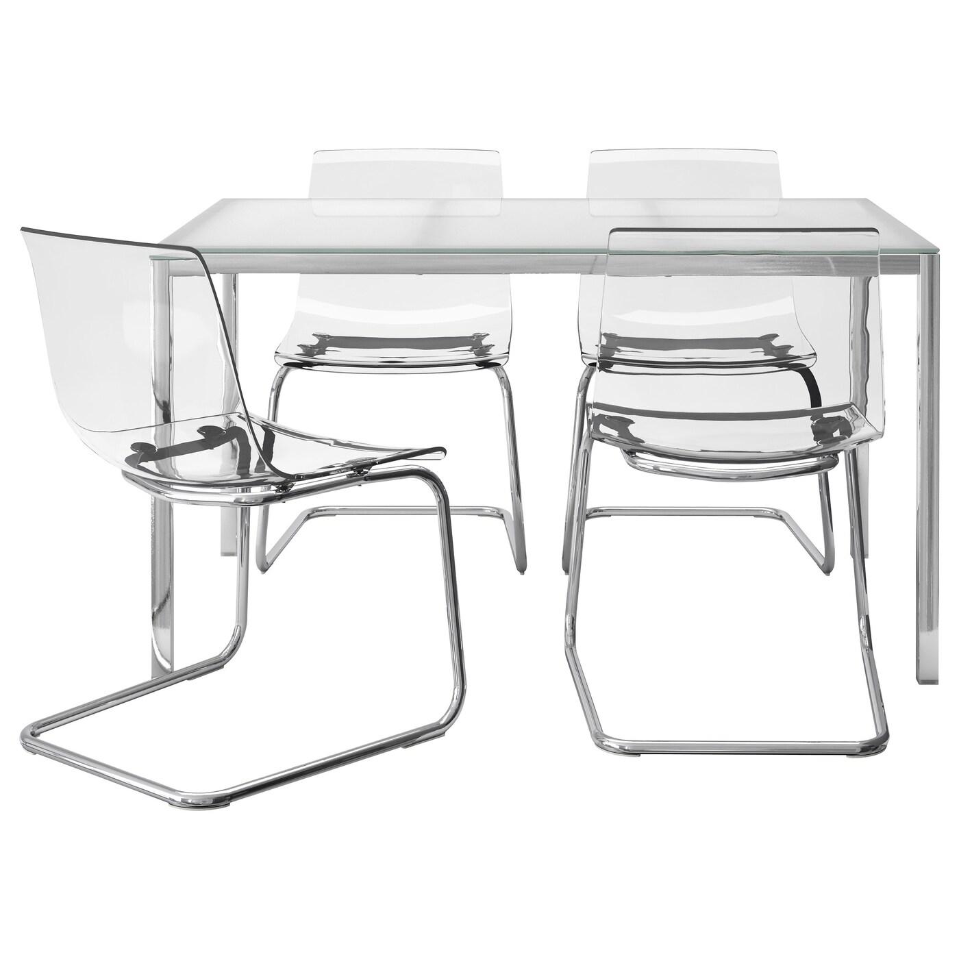 TORSBY / TOBIAS, Tisch und 4 Stühle, Glas weiß, weiß 291.974.16