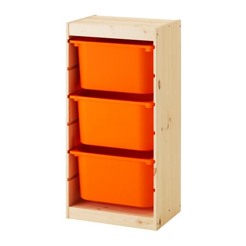 trofast aufbewahrung mit boxen kiefer wei gebeizt hell orange ikea. Black Bedroom Furniture Sets. Home Design Ideas