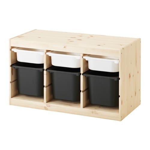 trofast aufbewahrung mit boxen kiefer wei gebeizt hell wei schwarz ikea. Black Bedroom Furniture Sets. Home Design Ideas