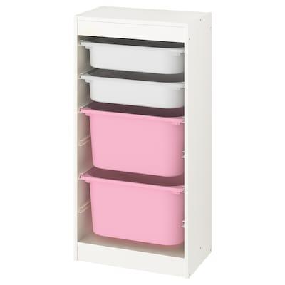 TROFAST Aufbewahrung mit Boxen, weiß/weiß rosa, 46x30x94 cm