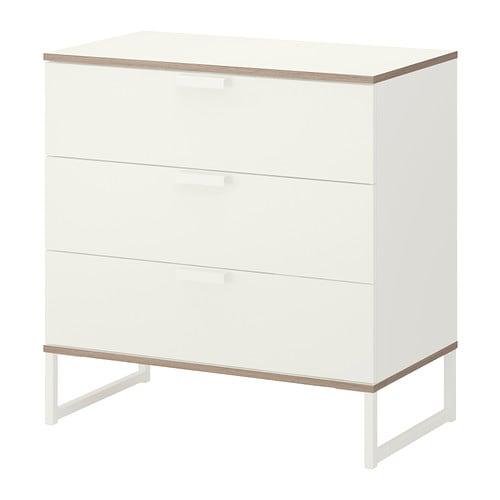 TRYSIL Kommode mit 3 Schubladen - weiß/hellgrau - IKEA