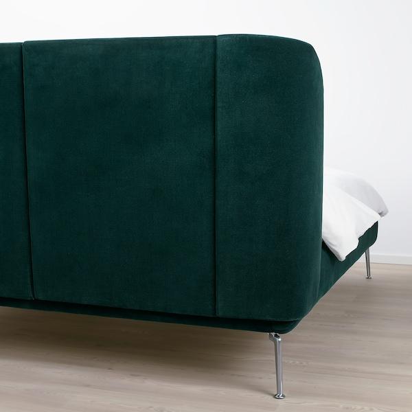 TUFJORD Bettgestell, gepolstert, Djuparp dunkelgrün, 160x200 cm