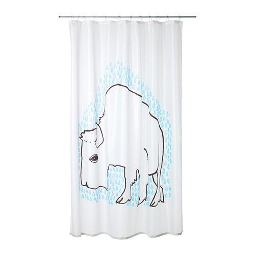ikea designer duschvorhang 180x200 cm badezimmer 100 polyester wei blau neu ebay. Black Bedroom Furniture Sets. Home Design Ideas