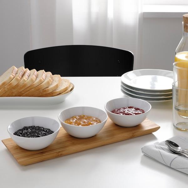 TYNGDLÖS Tablett + 3 Schalen, Bambus/weiß
