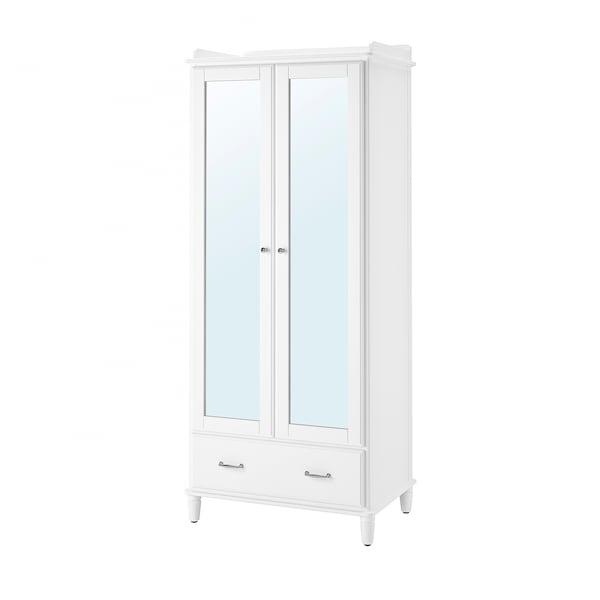 TYSSEDAL Kleiderschrank weiß/Spiegelglas 88 cm 58 cm 208 cm