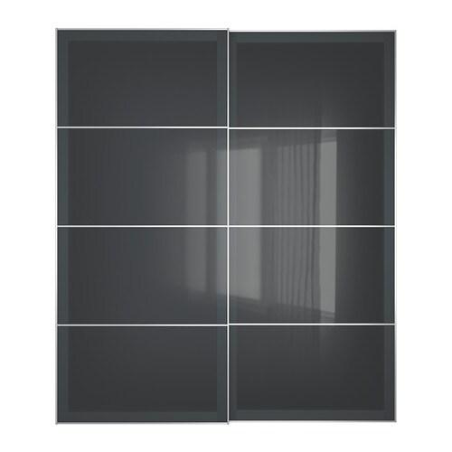 Ikea Kücheninsel Boden Befestigen ~ UGGDAL Schiebetürpaar , graues Glas Einbautiefe 80 cm Stärke 23