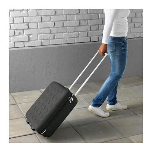 ikea designer kabinenkoffer mit rollen dunkelgrau handgep ck koffer trolley neu ebay. Black Bedroom Furniture Sets. Home Design Ideas