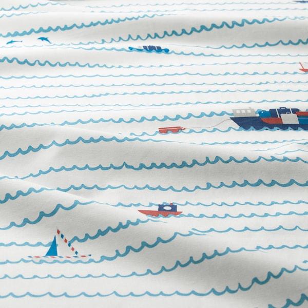 UPPTÅG Bettwäscheset, 2-teilig, Wellen/Boote/blau, 140x200/80x80 cm