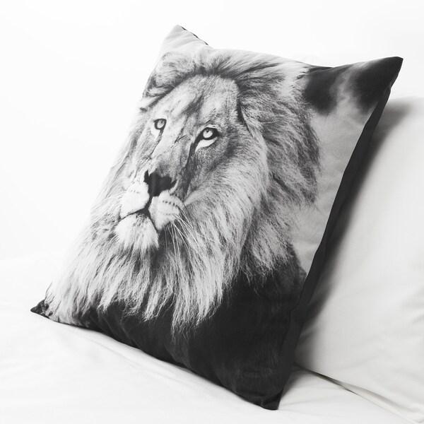 URSKOG Kissen, Löwe/grau, 50x50 cm