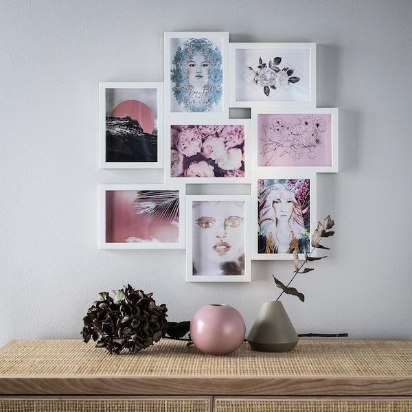 VÄXBO Collage-Rahmen für 8 Fotos weiß 55 cm 58 cm 13 cm 18 cm