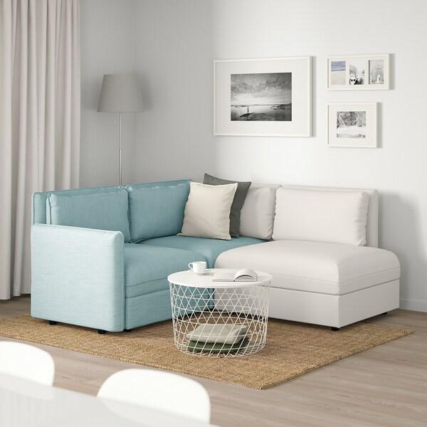 VALLENTUNA 3er-Sitzelement, mit Stauraum/Hillared/Murum hellblau/weiß