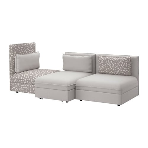 vallentuna 3er sofa mit liege orrsta hellgrau funnarp schwarz beige ikea. Black Bedroom Furniture Sets. Home Design Ideas