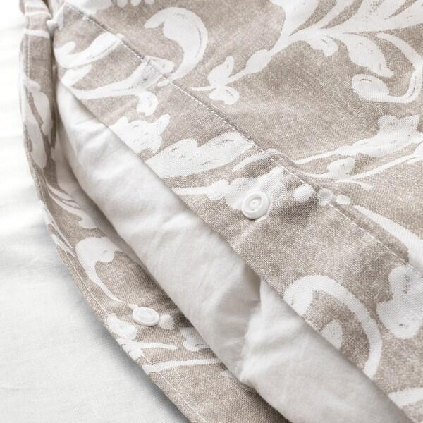VÅRBRÄCKA Bettwäscheset, 2-teilig beige/weiß 104 Quadratzoll 1 Stück 200 cm 140 cm 80 cm 80 cm