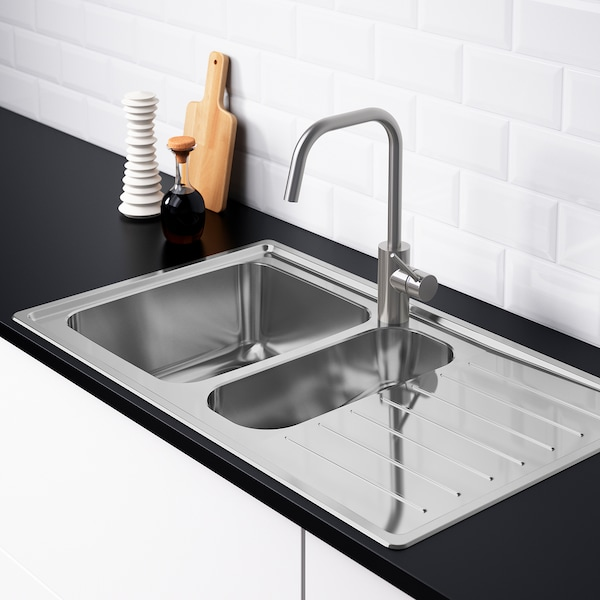 VATTUDALEN Einbauspüle 1½ Becken/Abtr - Edelstahl - IKEA ...