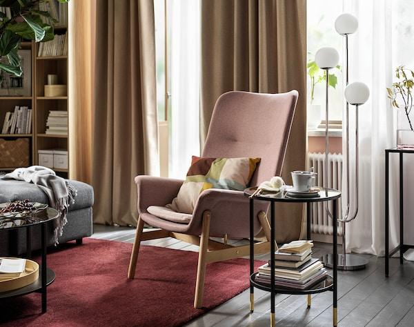 VEDBO Sessel mit hoher Rückenlehne, Gunnared hell braunrosa