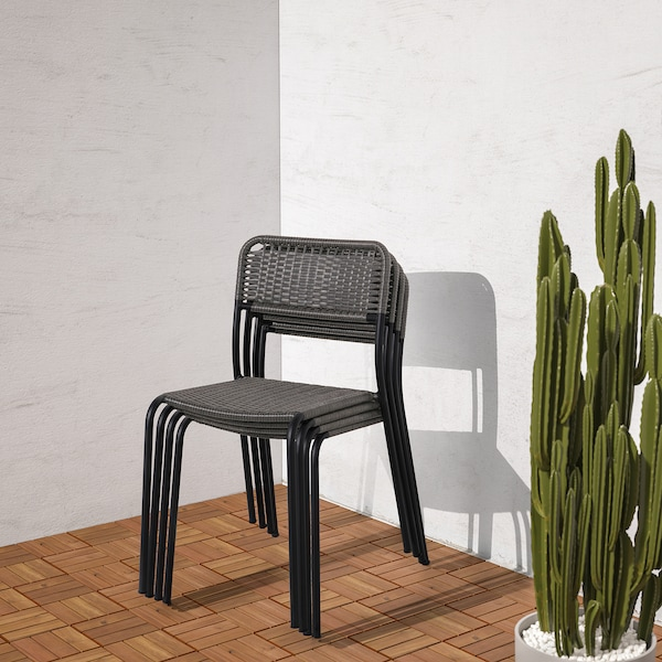 VIHOLMEN Stuhl/außen, dunkelgrau