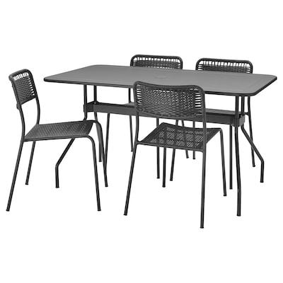 VIHOLMEN Tisch+4 Stühle/außen, dunkelgrau/dunkelgrau