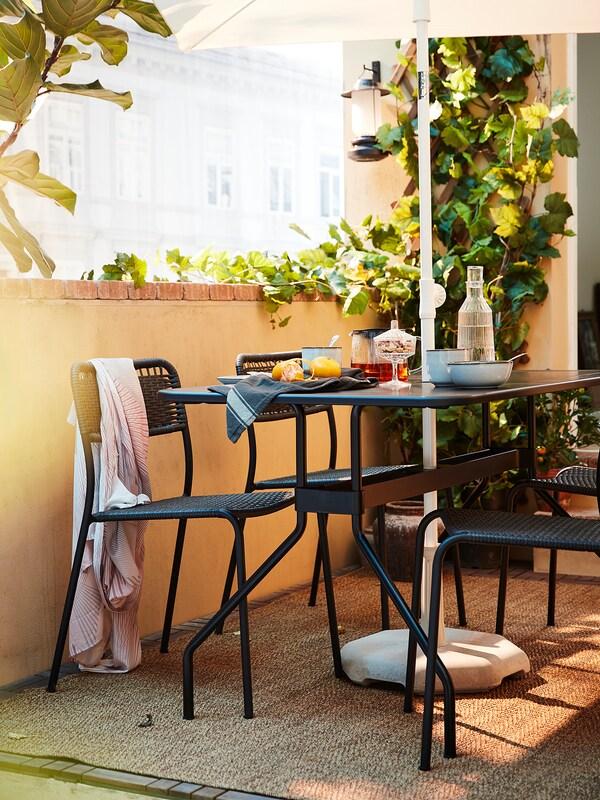 VIHOLMEN Tisch/außen, dunkelgrau, 135x74 cm