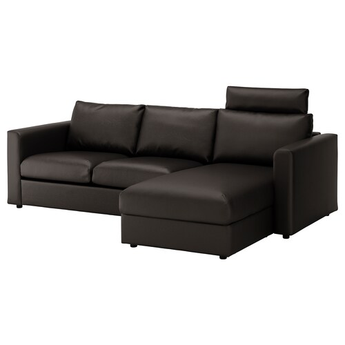 VIMLE 3er-Sofa mit Récamiere mit Nackenkissen/Farsta schwarz 100 cm 80 cm 164 cm 252 cm 98 cm 125 cm 4 cm 15 cm 65 cm 222 cm 55 cm 45 cm