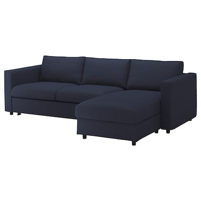 VIMLE 3er-Bettsofa, mit Récamiere/Orrsta schwarzblau