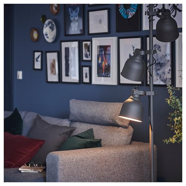 VIMLE 3er-Sofa mit Récamiere, mit Nackenkissen/Gunnared mittelgrau