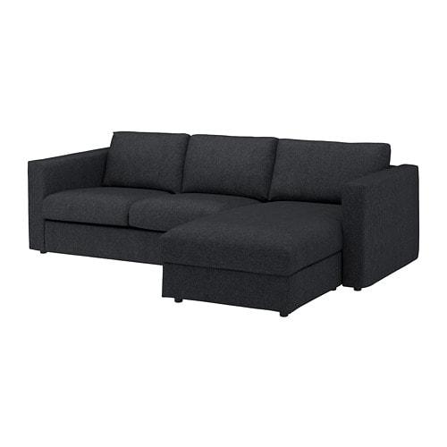 vimle 3er sofa mit r camiere tallmyra schwarz grau ikea. Black Bedroom Furniture Sets. Home Design Ideas