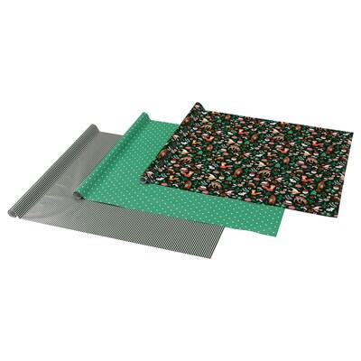 VINTER 2021 Geschenkpapierrolle, Tiermuster grün, 3x0.7 m/2.10 m²x3 Stück