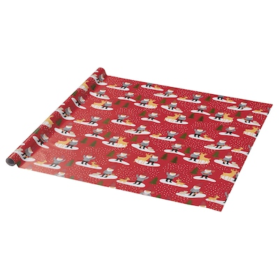 VINTER 2021 Geschenkpapierrolle, Weihnachtsmannmuster rot, 3x0.7 m