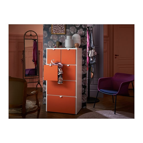 Visthus Kommode Mit 6 Schubladen Weiss Orange Ikea