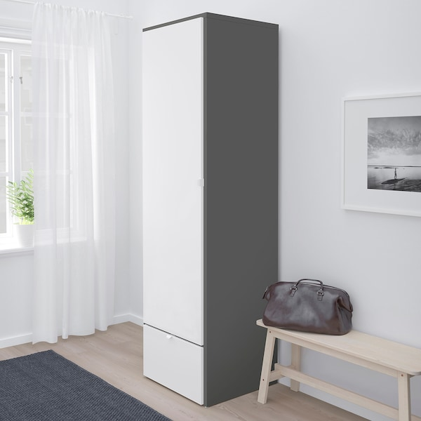 VISTHUS Kleiderschrank grau/weiß 62.6 cm 59.0 cm 216.0 cm
