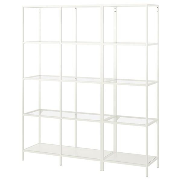 VITTSJÖ Aufbewahrung weiß/Glas 151 cm 36 cm 175 cm