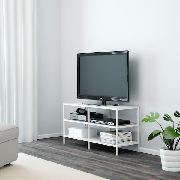 VITTSJÖ TV-Bank, weiß/Glas, 100x36x53 cm