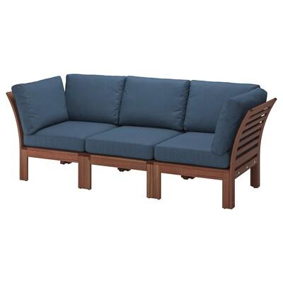 ÄPPLARÖ 3-pers. modulopb. sofa, ude, brun bejdse/Frösön/Duvholmen blå, 223x80x84 cm